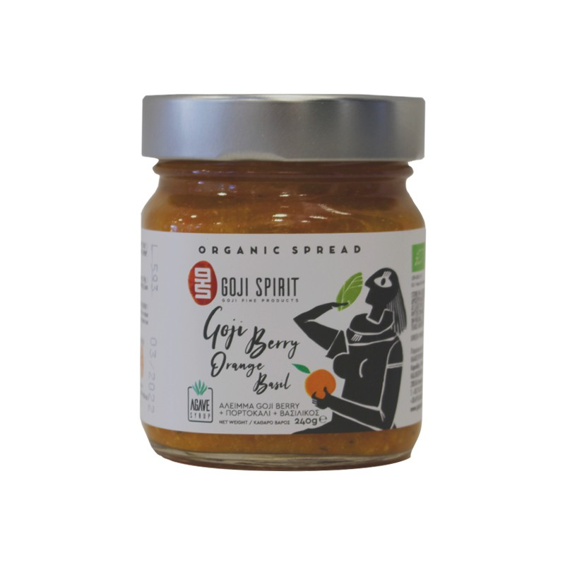Organic Spread Goji berry-Orange-Basil with Agave 240gr