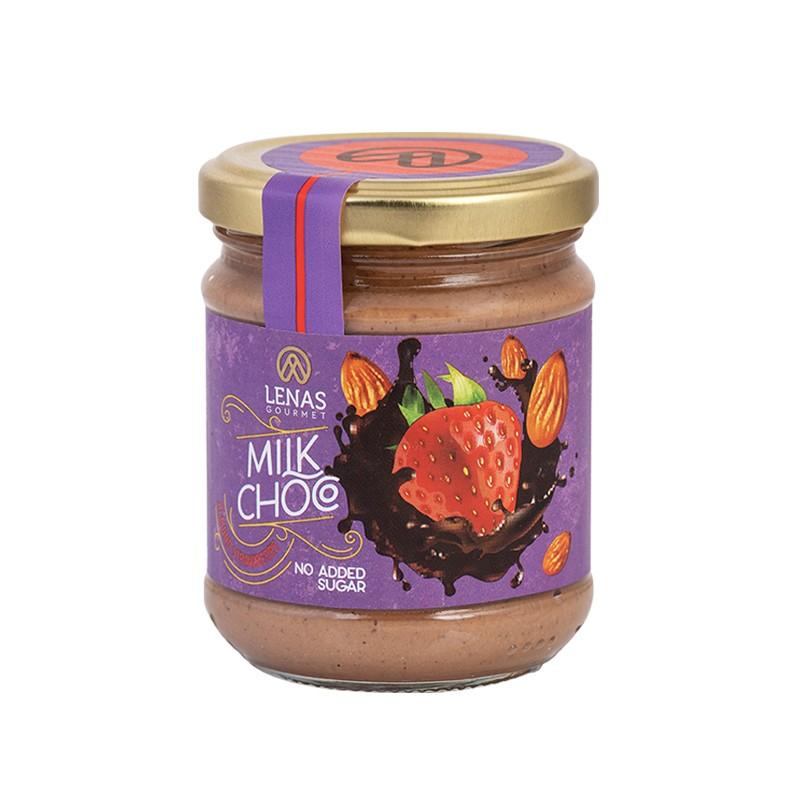 Αλειμμα Σοκολάτας Γάλακτος  με Αμύγδαλο - Φράουλα χωρίς ζάχαρη ''Lenas Gourmet''  190γρ